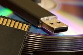 Cd, USB, SD card — Stock Photo