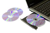 Laptop with Loaded DVD Drive — Stock Photo