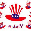 Illustration of isolated usa hats on white background - 图库矢量图片