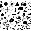 Vector set of cartoon silhouettes — Stock Vector
