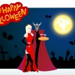 Vector halloween card with girl and devil — Stock Vector