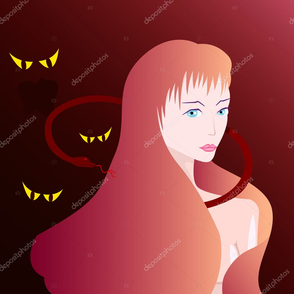 Vector illustration of beautiful witch with snake and spirits — Stock Vector #3867636