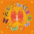 Stock Vector: Vector background with butterflies