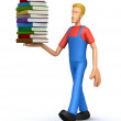 Mechanic with a stack of books — Stock Photo #2919723