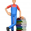 Mechanic with a stack of books — Stock Photo #2919730