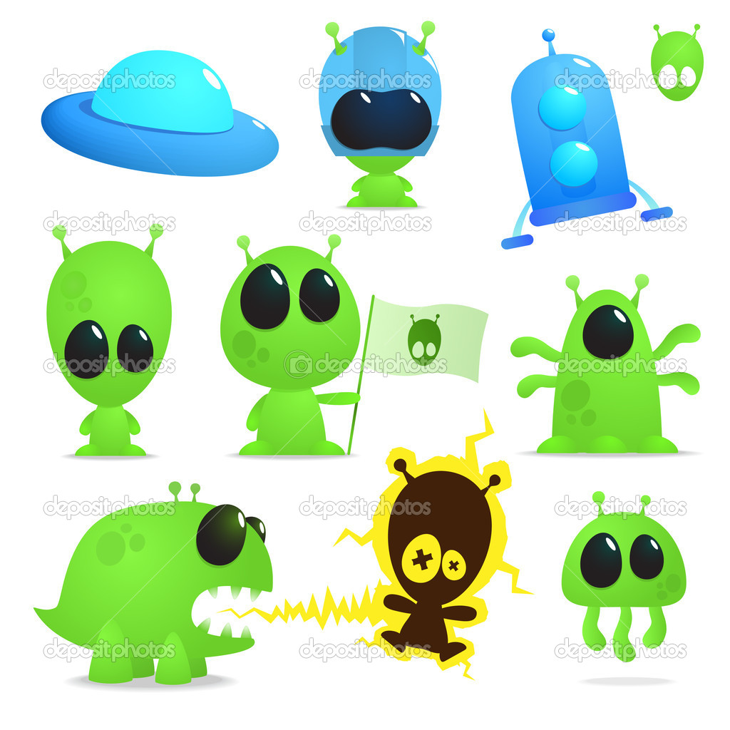 Collection of cartoon aliens, monsters and spaceships — Stock Vector #3311325