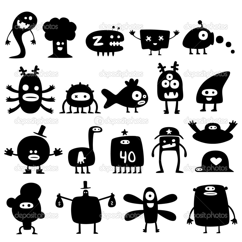 Collection of cartoon funny monsters silhouettes  Stock Vector #3580272