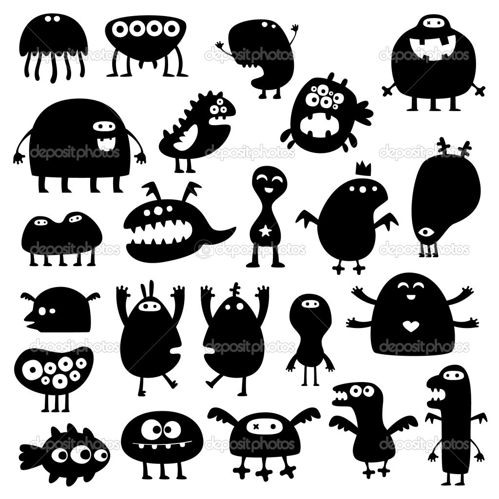 Collection of cartoon funny monsters silhouettes — Stock Vector #3580273