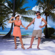Couple nex to Palm tree — Stock Photo #3014102