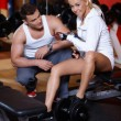 Couple at the gym — Stock fotografie #3376155