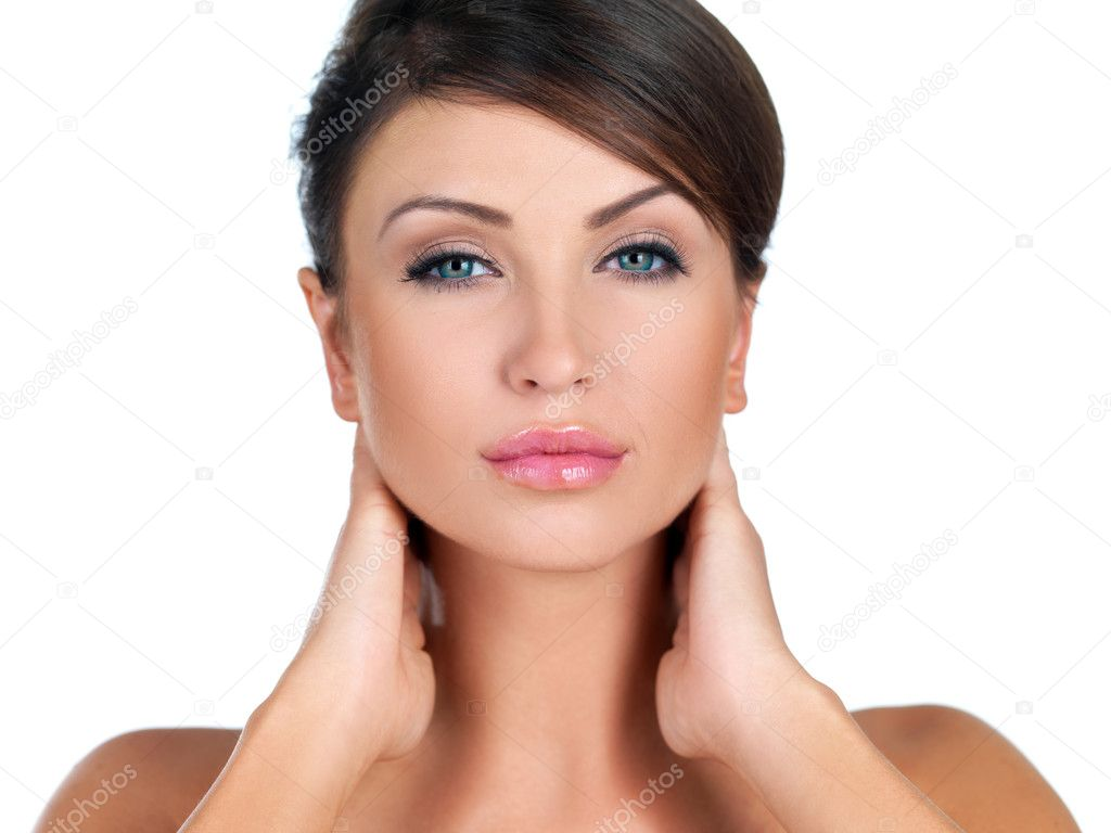 Portrait of beautiful woman she is doing neck massage — Stock Photo #3784841