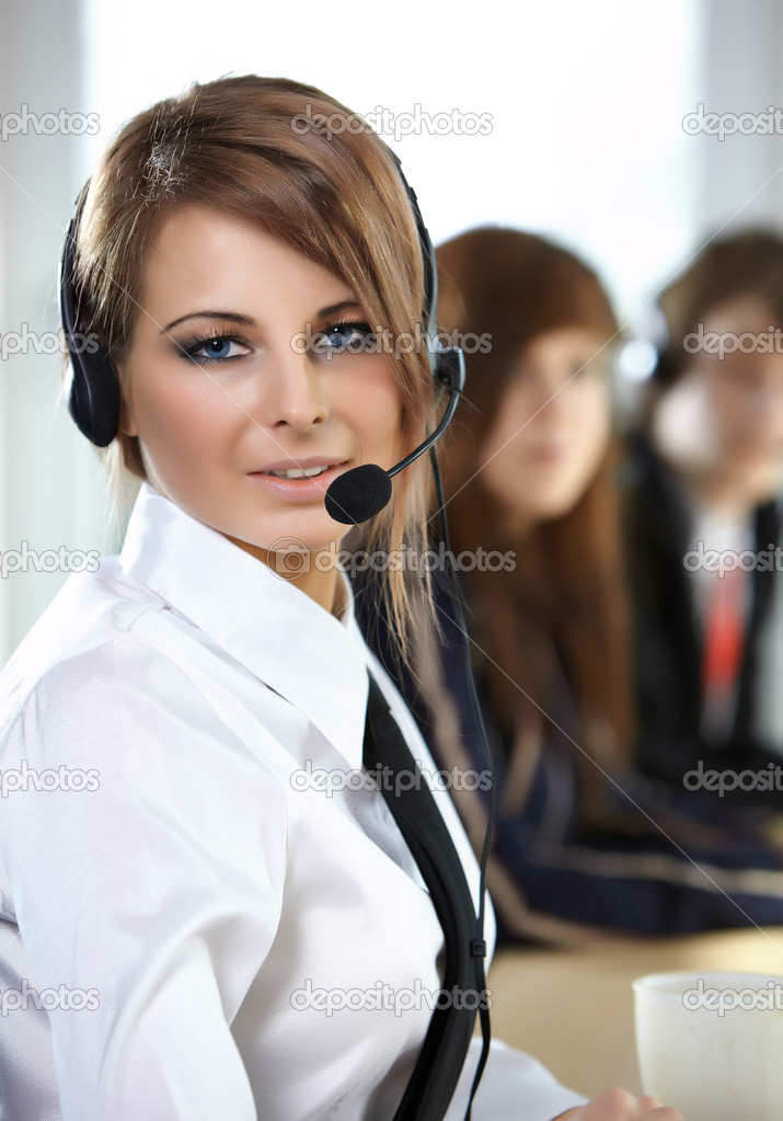 Beautiful representative smiling call center woman with headset. — Stock Photo #2717792