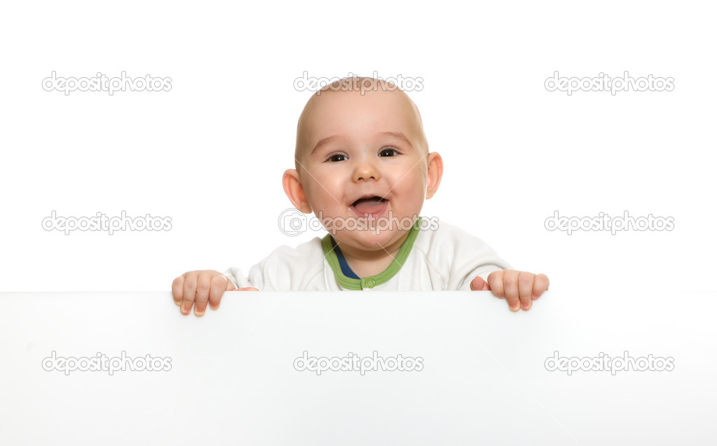 Cute baby boy holding empty blank board  — Stock Photo #3262132