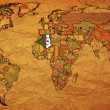 Algeria on old paper world map — Stock Photo #2894202