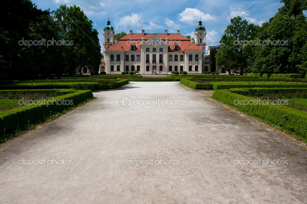 Restaurated baroque palace in poland with garden  Stock Photo #3174994