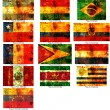 Old flag of south american countries — Stock Photo