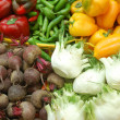 Stock Photo: Close up of vegetables on market stand
