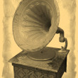 Gramophone, stylized antique photos — Stock Photo
