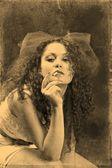 Una mujer fuma — Foto de Stock