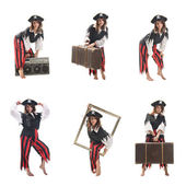 A young woman dressed as a pirate — Stock Photo