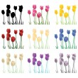 Tulips set - Stock Vector