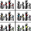 Stock Vector: Hands symbol of diversity