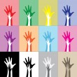 Stock Vector: Hands silhouettes