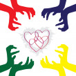 Hands caring hearts — Stock Vector