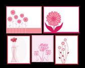 Floral invitations set — Stock Vector