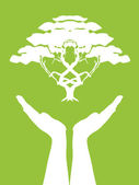 Hands caring tree — Vector de stock