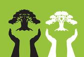 Human hands caring tree — Stock Vector