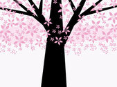 Abstract pink floral tree — Stock Vector