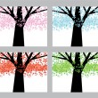 Stock Vector: Abstract trees set