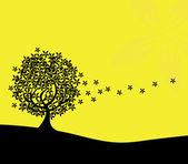 Silhouette d'arbre abstrait — Vecteur