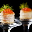 Tartlets with red caviar — Stock Photo #3438818