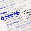 Dictionary definition of challange - Stock Photo