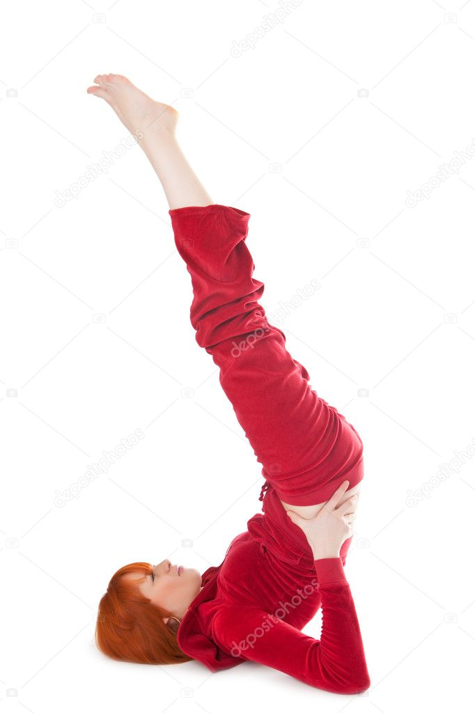 Beautiful red girl in sportswear isolated on a white background   Stock Photo #3002769