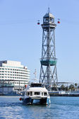 Cable car tower in Barcelona port — Stock Photo