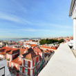 Window view to roofs of Lisbon - Stock Photo