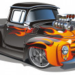 Vector cartoon hot-rod - Vettoriali Stock
