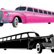 Vector long vintage limo - Stock Vector