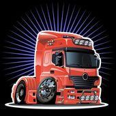 Vector cartoon semi-truck — Stock Vector