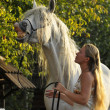 White horse and girl — Stock Photo