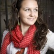 The Red Scarf - Stock Photo
