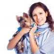 Girl with a dog — Stock Photo