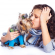 Girl with a dog — Stock Photo #3183821