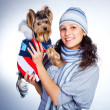 Girl with a dog — Stock Photo #3183835