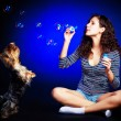 Pretty girl with soap bubbles — Stock Photo