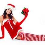 Girl dressed as Santa — Stock Photo