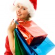 Cheerful girl with Chrismas presents — Stock Photo